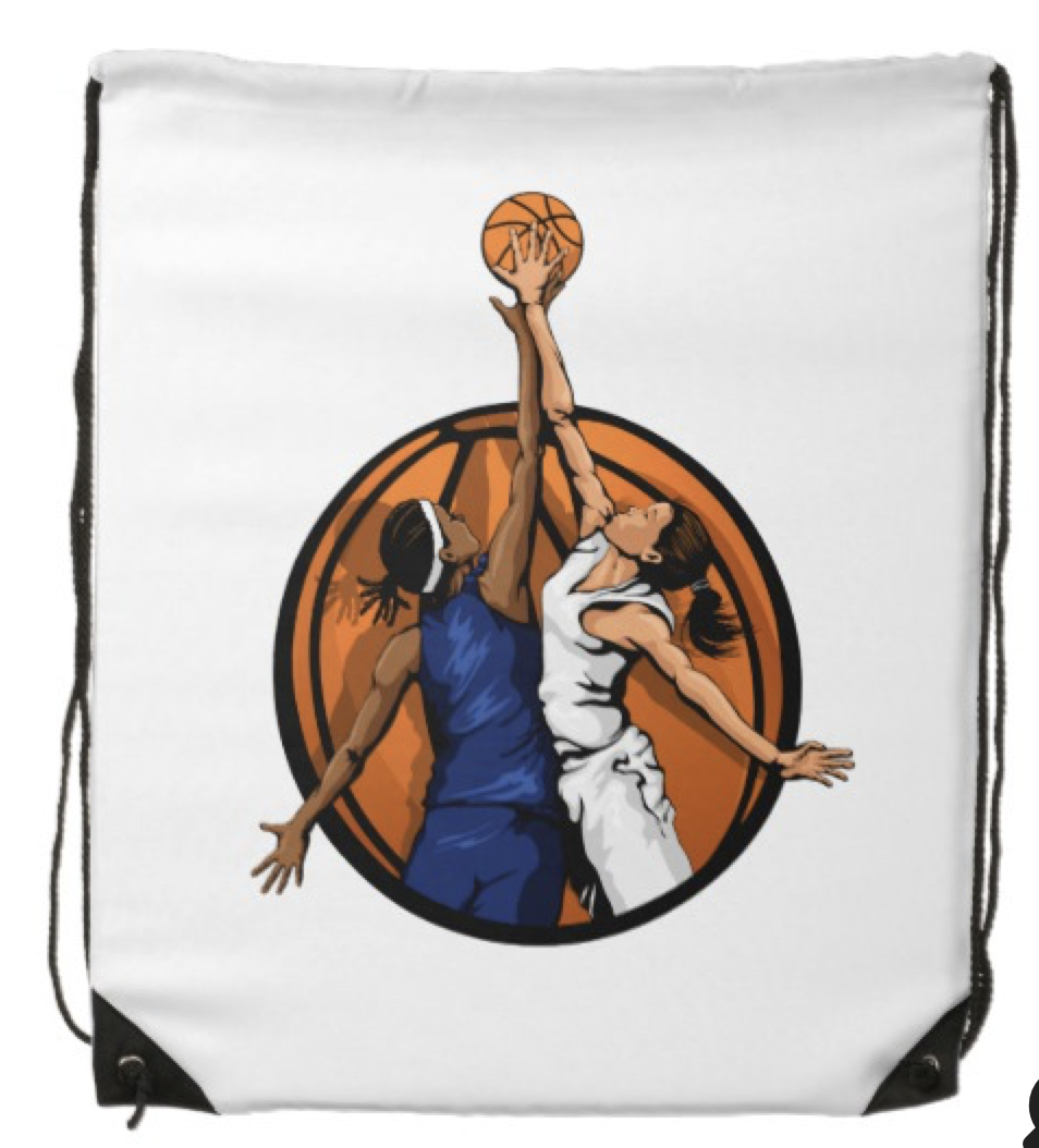 Girl Basketball Jumpball Drawstring Bag