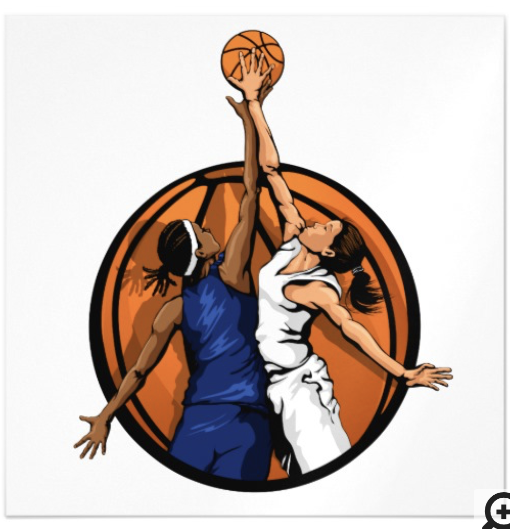 Girl Basketball Jumpball Magnetic Card