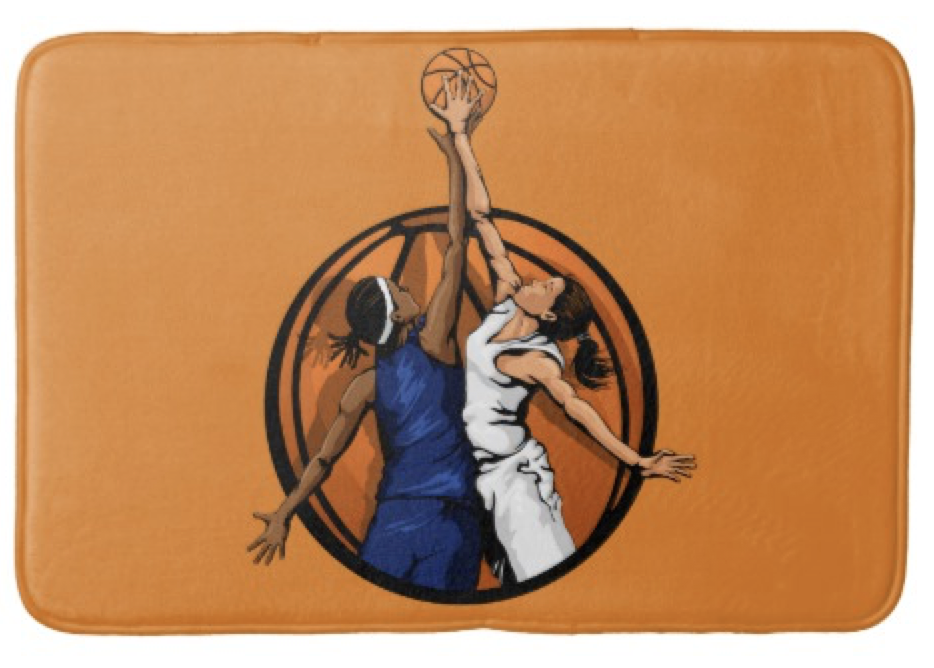 Girl Basketball Jumpball Bathroom Mat