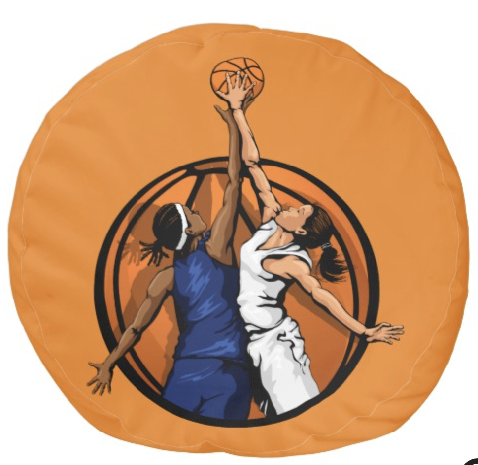 Girl Basketball Jumpball Pouf