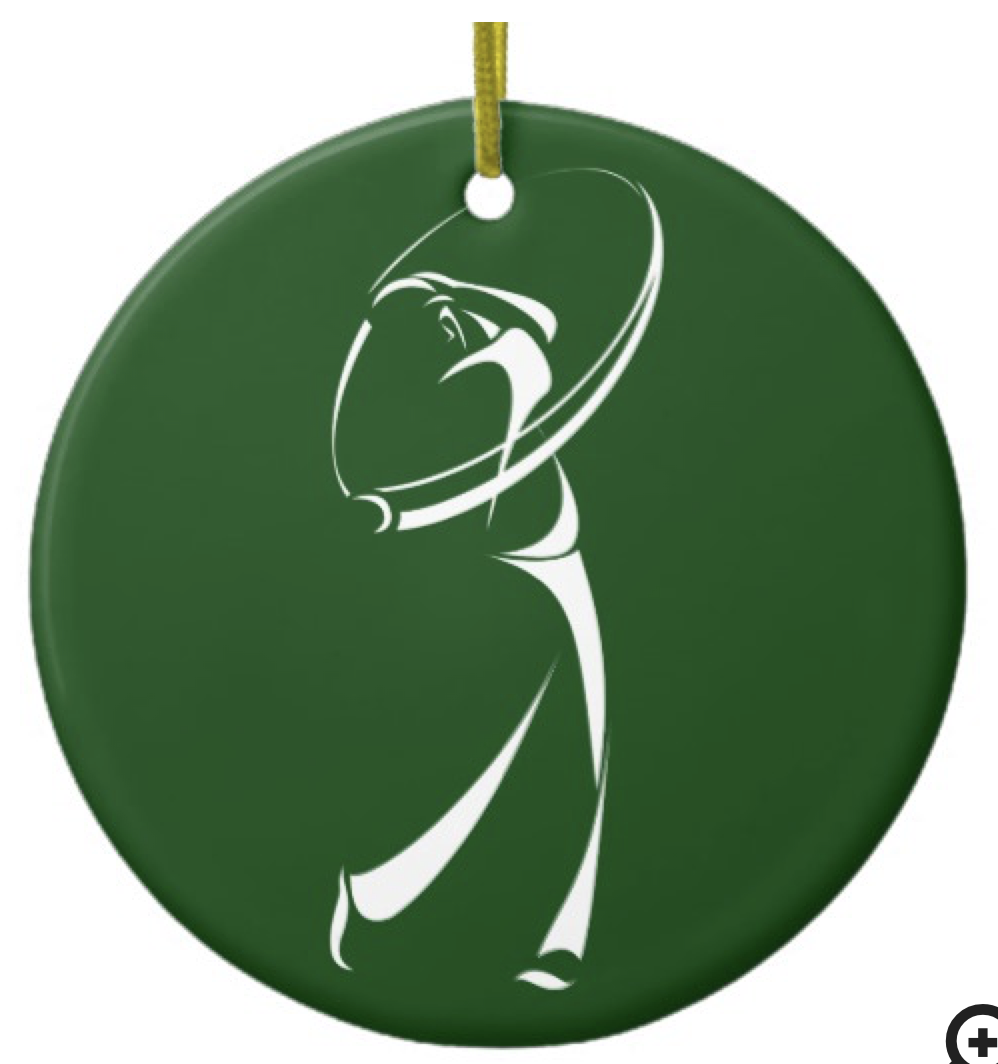 Stylized Golfer Teeing Off Ceramic Ornament