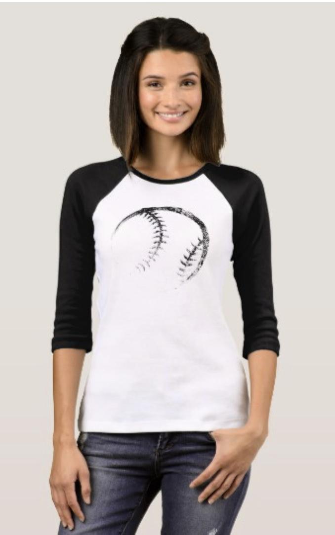 Grunge Style Baseball or Softball Design T-Shirt