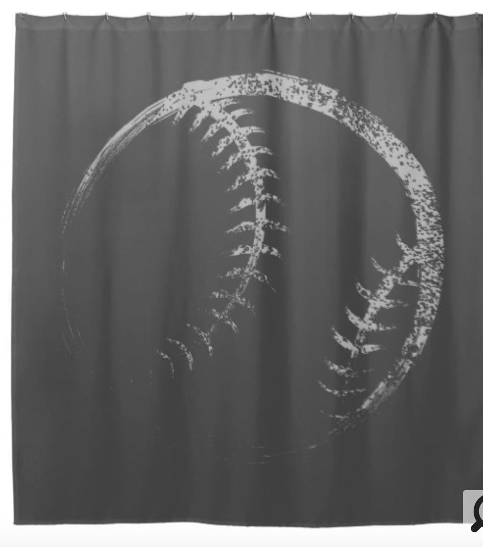 Grunge Style Baseball or Softball Design Shower Curtain