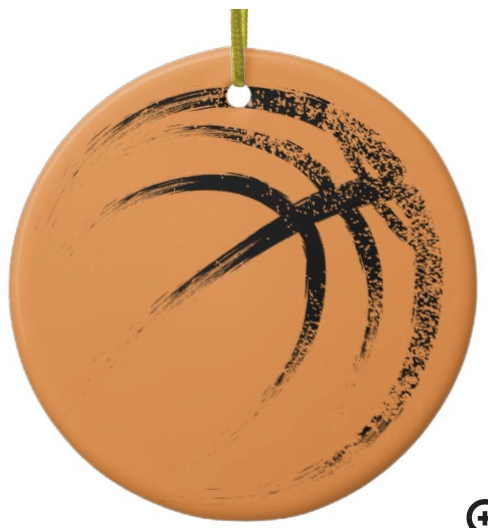 Grunge Style Basketball Design Ceramic Ornament