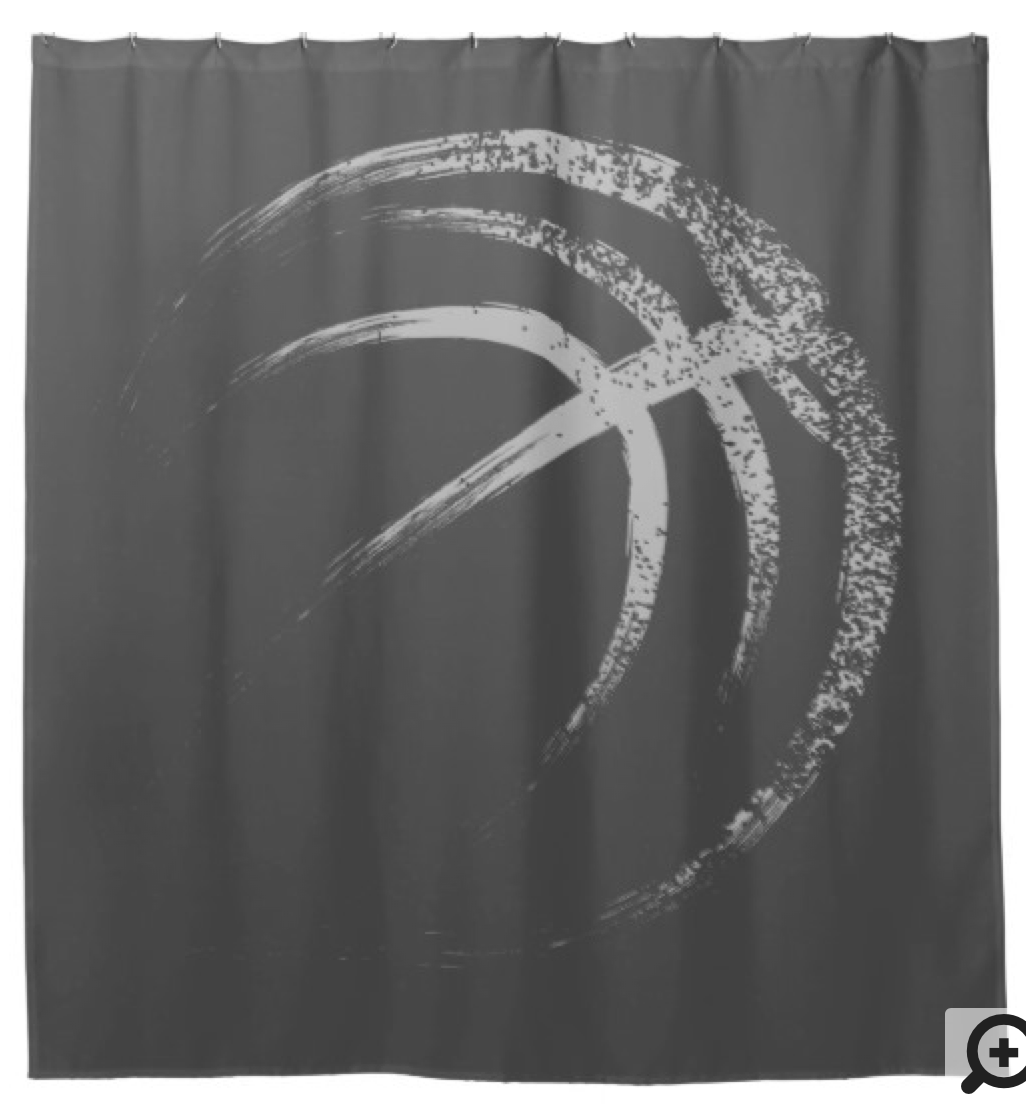 Grunge Style Basketball Design Shower Curtain