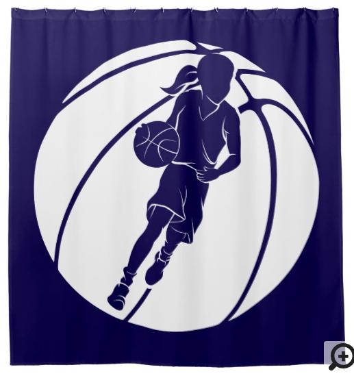Basketball Girl Dribbling in Basketball Shower Curtain