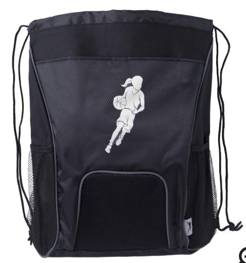 Basketball Girl Dribbling Drawstring Backpack
