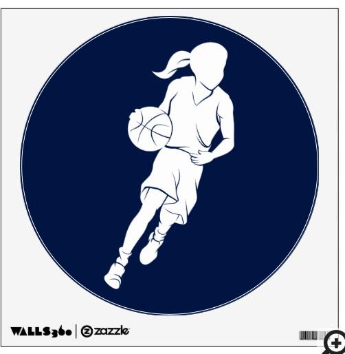 Basketball Girl Dribbling Wall Sticker