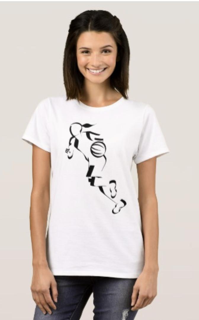 Stylized Female Basketball Player Dribbling T-Shirt