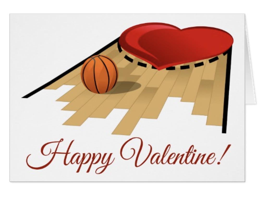 Basketball Heart Floor Card