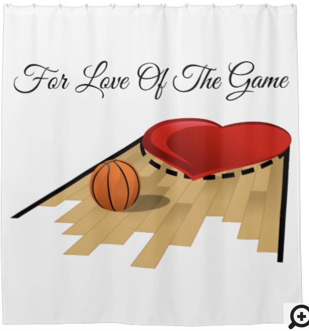 Basketball Heart Floor Card Shower Curtain