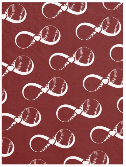 Red Softball or Baseball Love Fleece Blanket
