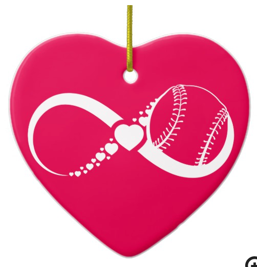 Softball Love Infinity Heart Ornament