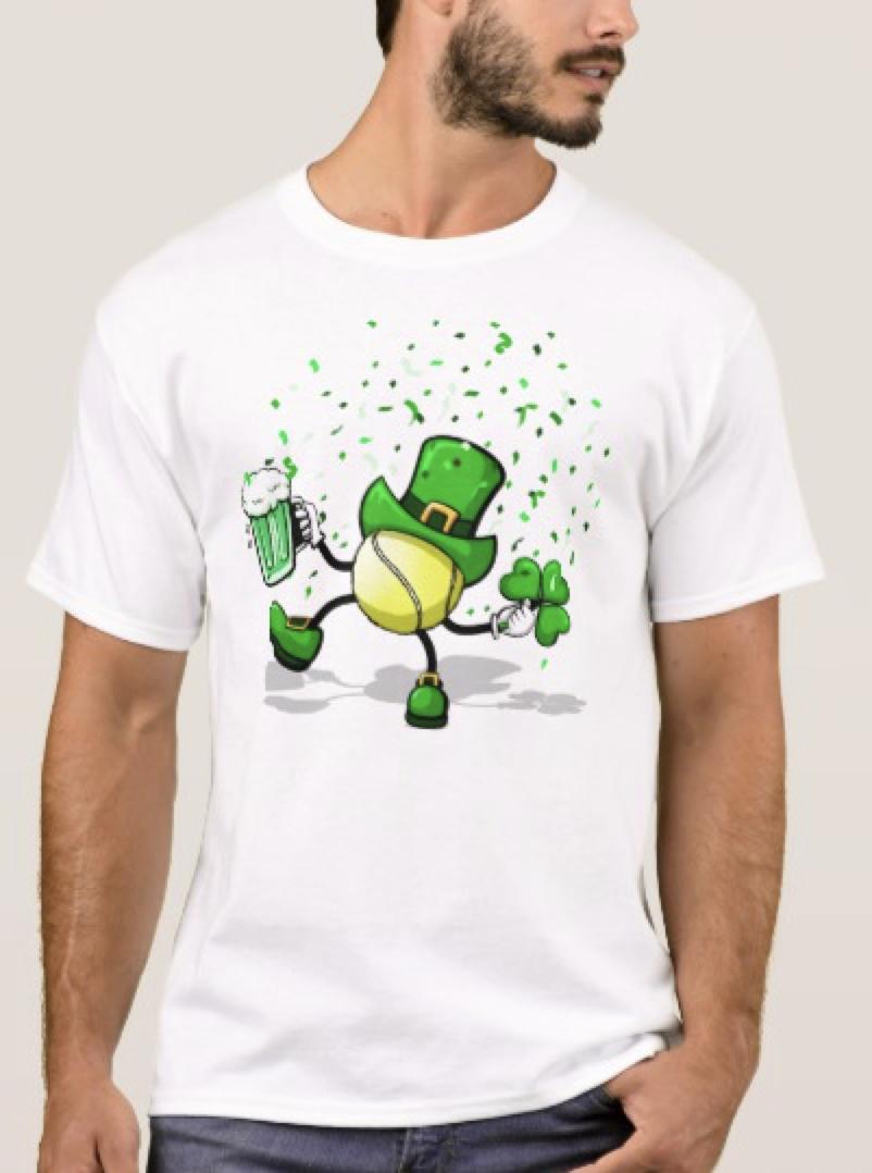 Dancing & Drinking Leprechaun Tennis Ball T-Shirt