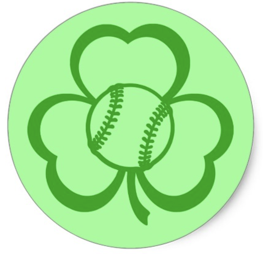 Baseball Three Leaf Clover for St. Patrick's Day Classic Round Sticker
