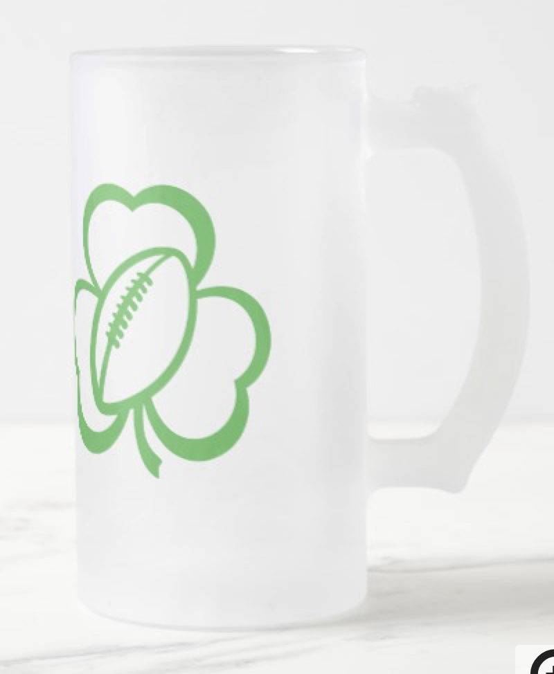 Football Three Leaf Clover Tall Frosted Mug