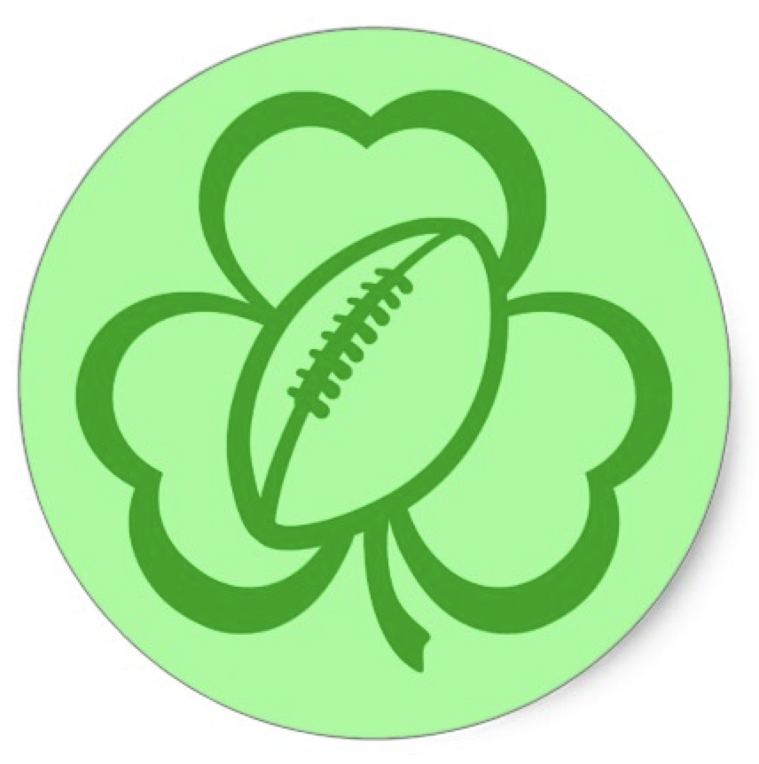 Football Three Leaf Clover for St. Patrick's Day Classic Round Sticker