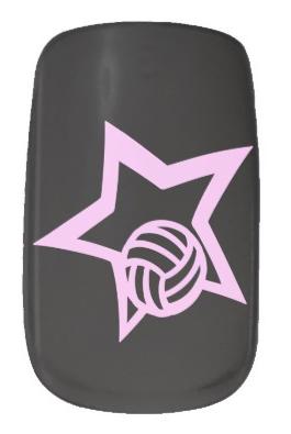 Volleyball Pink Star Minx Nail Art