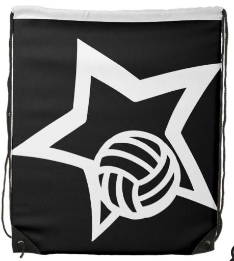 Volleyball Star White Drawstring Bag