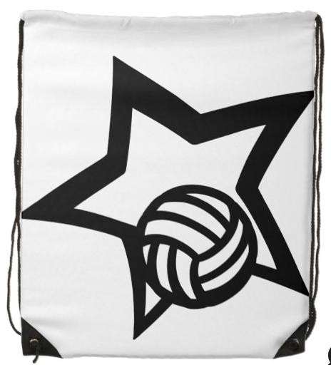 Volleyball Star Drawstring Bag