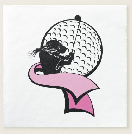 Female Golfer with Pink Ribbon Paper Napkin