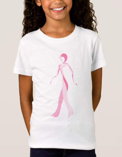 Girls Breast Cancer Awareness Pink Ribbon Walker T-shirt