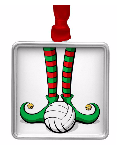 Volleyball Christmas Elf Feet Metal Ornament