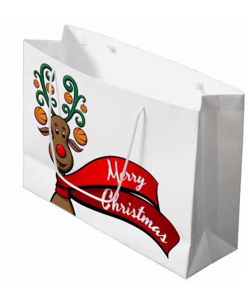 Basketball Christmas Reindeer Gift Bag