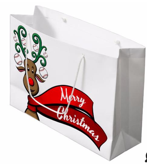 Baseball Christmas Reindeer Gift Bag