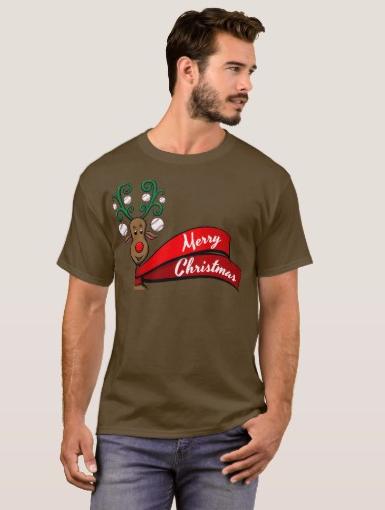 Baseball Christmas Reindeer T-Shirt