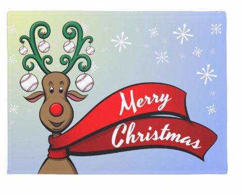 Baseball Christmas Reindeer Doormat