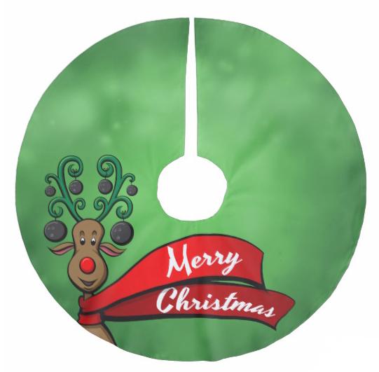 Bowling Christmas Reindeer Brushed Polyester Tree Skirt