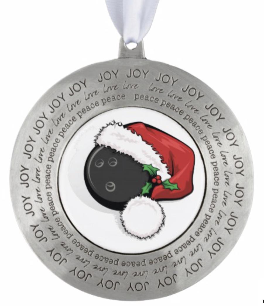 Bowling Ball Santa Pewter Ornament