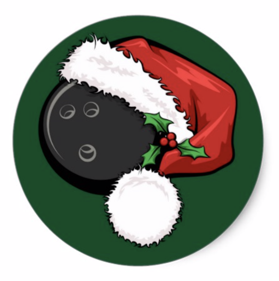 Bowling Santa Cap with Green Stickers