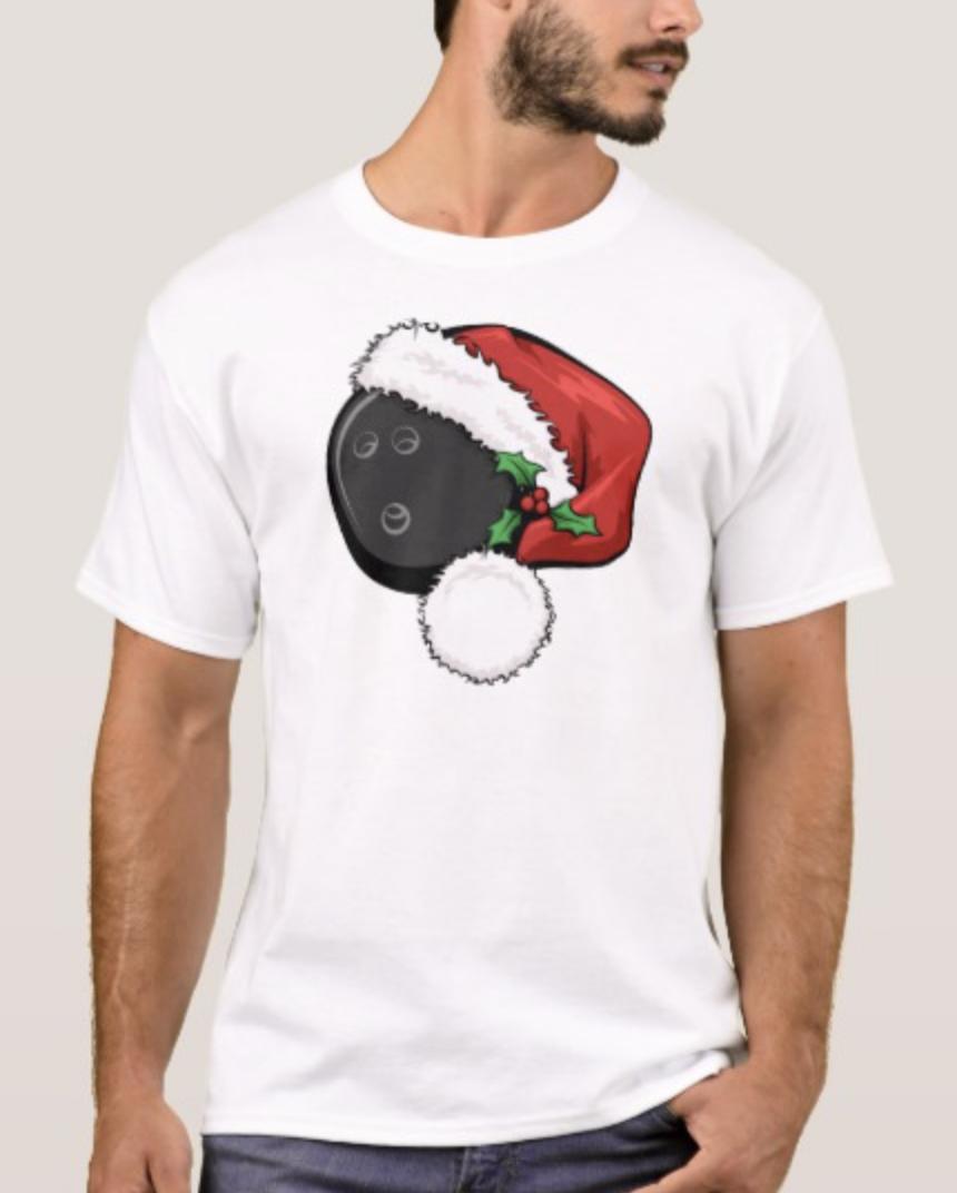 Bowling Ball Santa Cap T-Shirt
