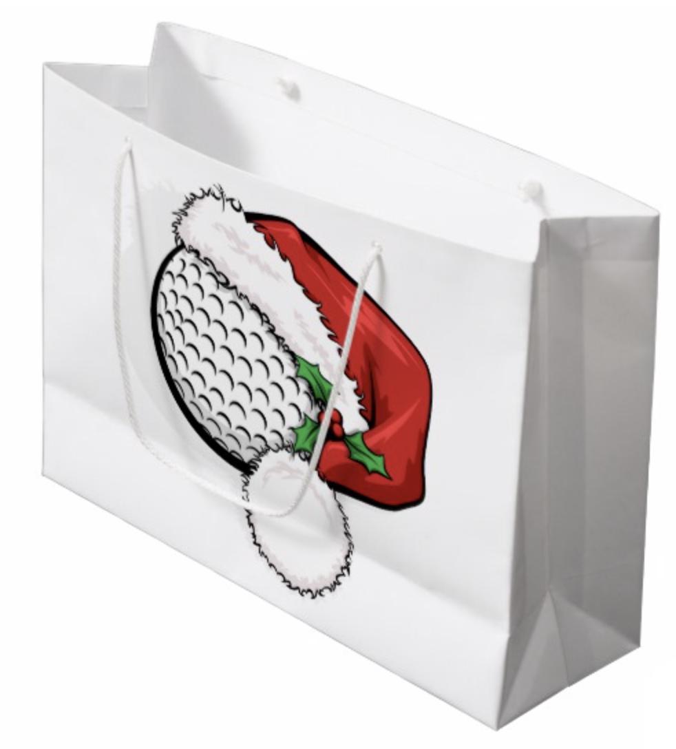 Golf Santa Cap for Christmas Large Gift Bag