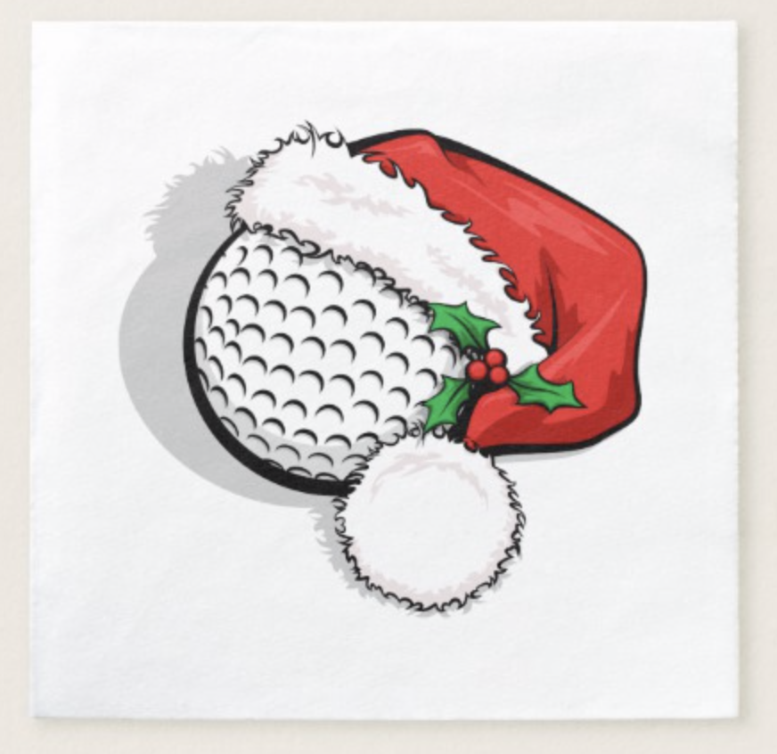 Golf Santa Cap Paper Napkin