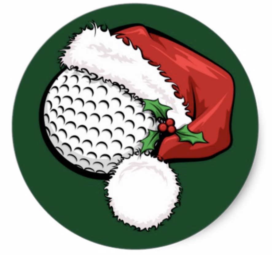 Golf Santa Cap with Green Stickers