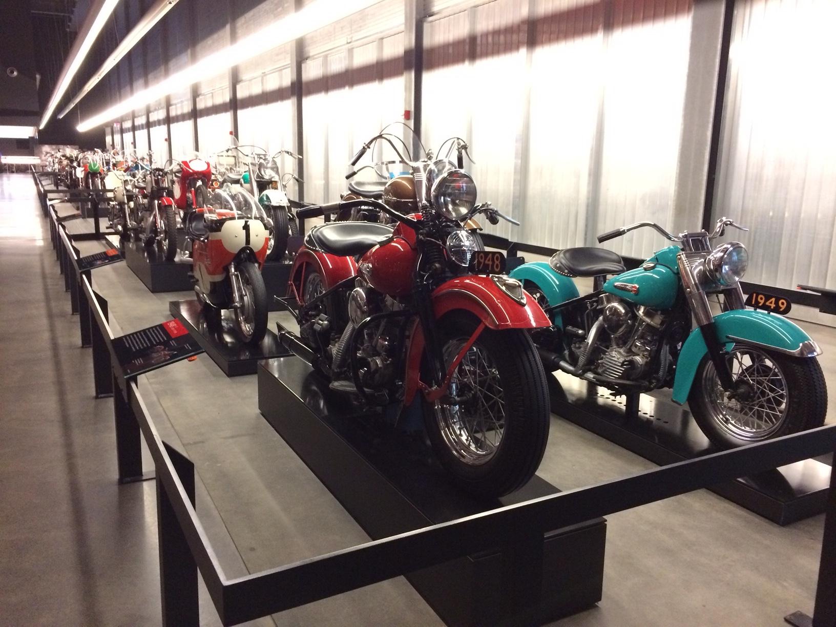 Bikes - so many bikes - Harley Davidson museum.JPG