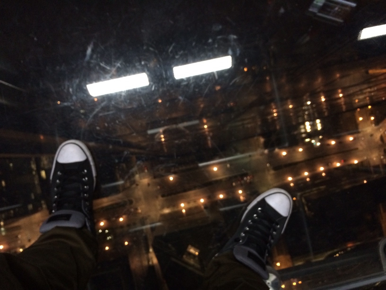 Geoff in the glass box at the Willis Tower.JPG