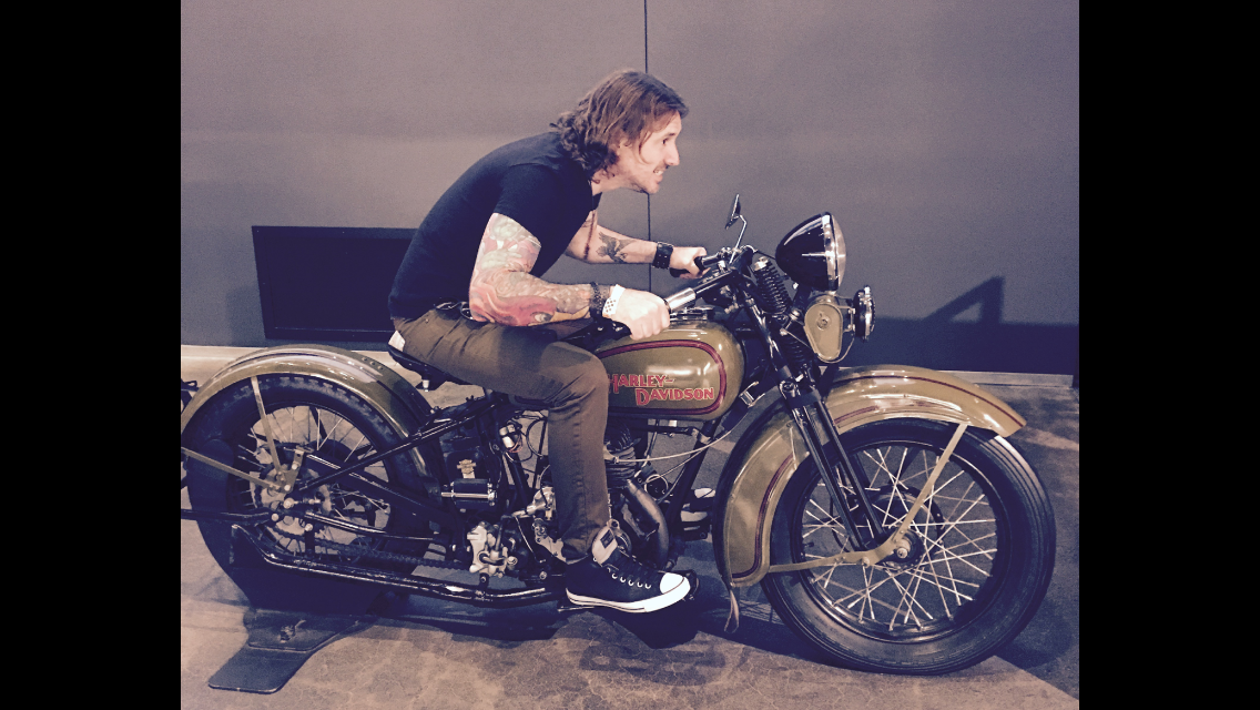Geoff having fun at the Harley Davidson museum.PNG