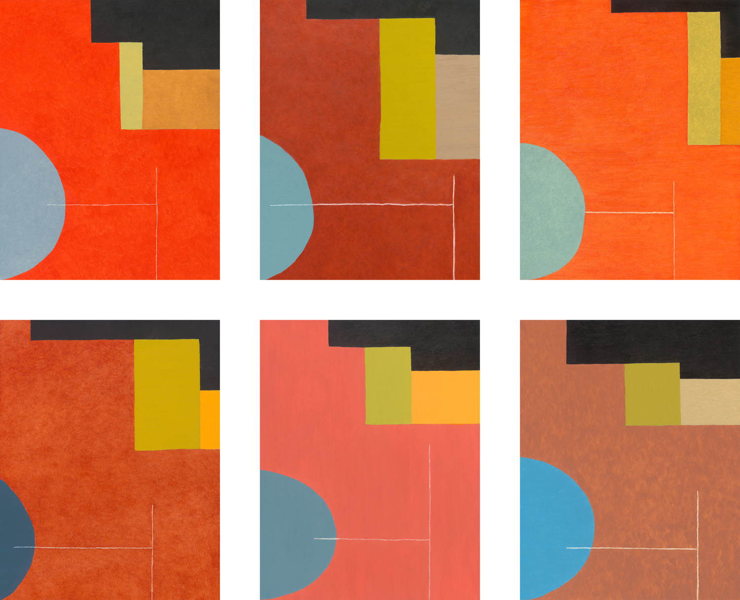 Earth Red Field series, 20 panels total (2009-2010), oil on board, each panel: 14 x 11 in.