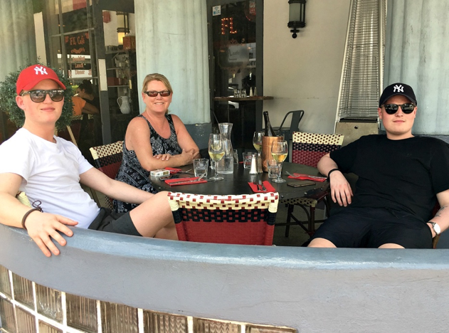 Our daily meeting point - LF Café Miami Beach. Moritz, Lene and Maximilian.