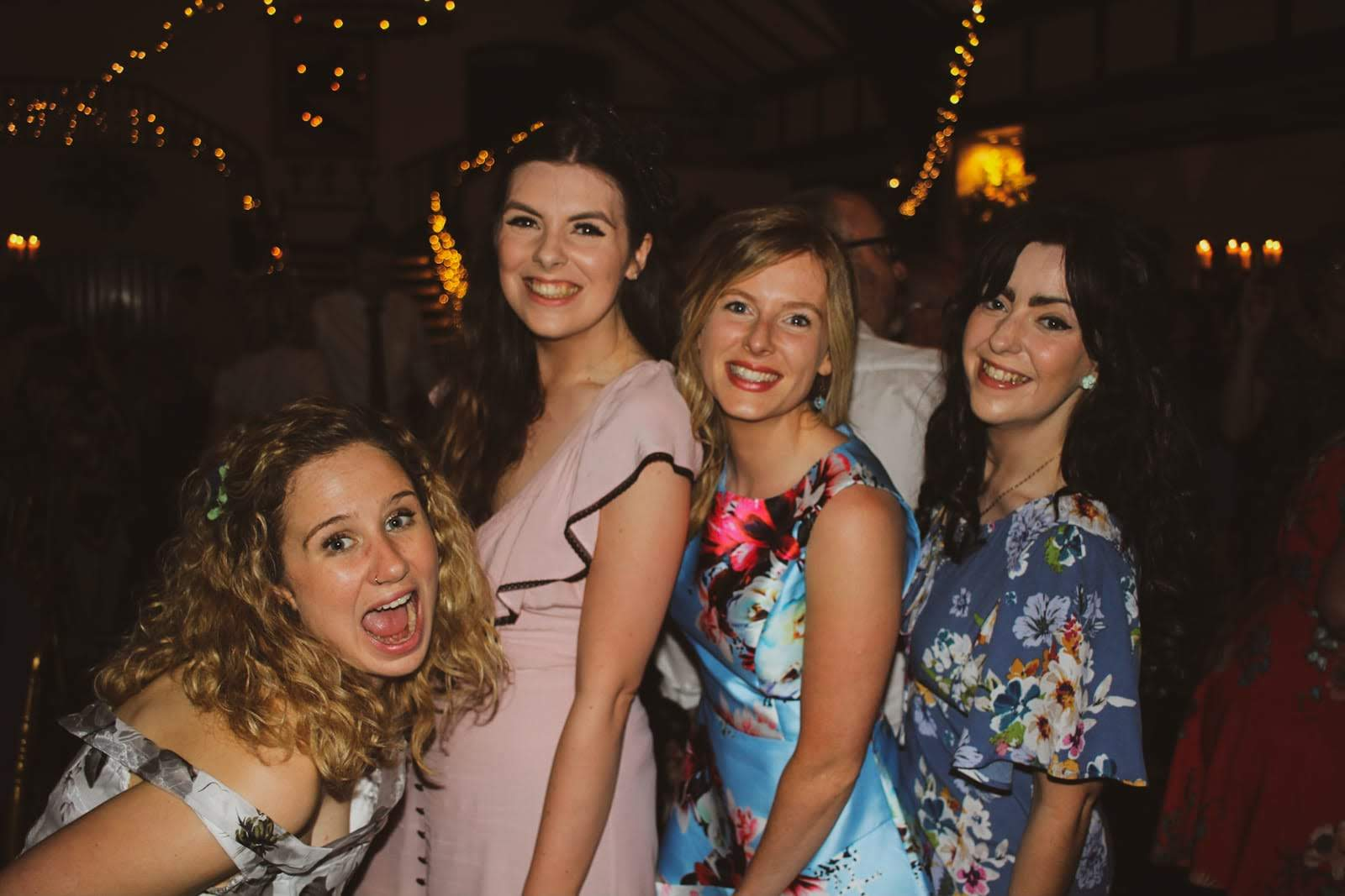 Laura (second from left) + three of her lovely bridesmaids