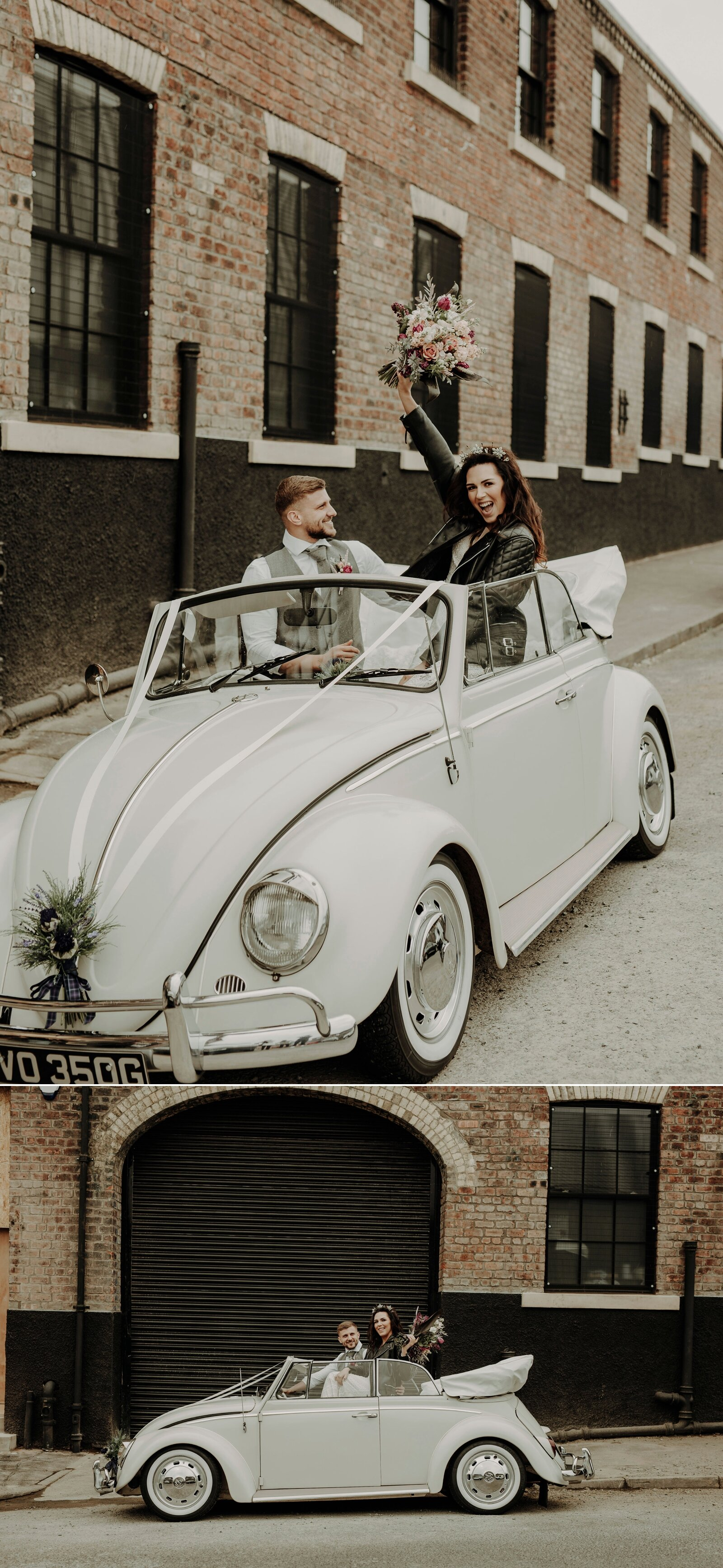 Laura will soon be arriving at The Engine Works in this cute beetle from  Tartan Dubs 4 Hire   Image by  Lena Sabala  from a styled shoot ft.  Wedding Flowers by Susan  //  Revify  //  Make Up by Leigh Blaney  //  Owsianka Hair  //  Unbridaled Boutique  //  The Unlikely Painter  //  MacGregor + MacDuff  // Models Anna + Ryan