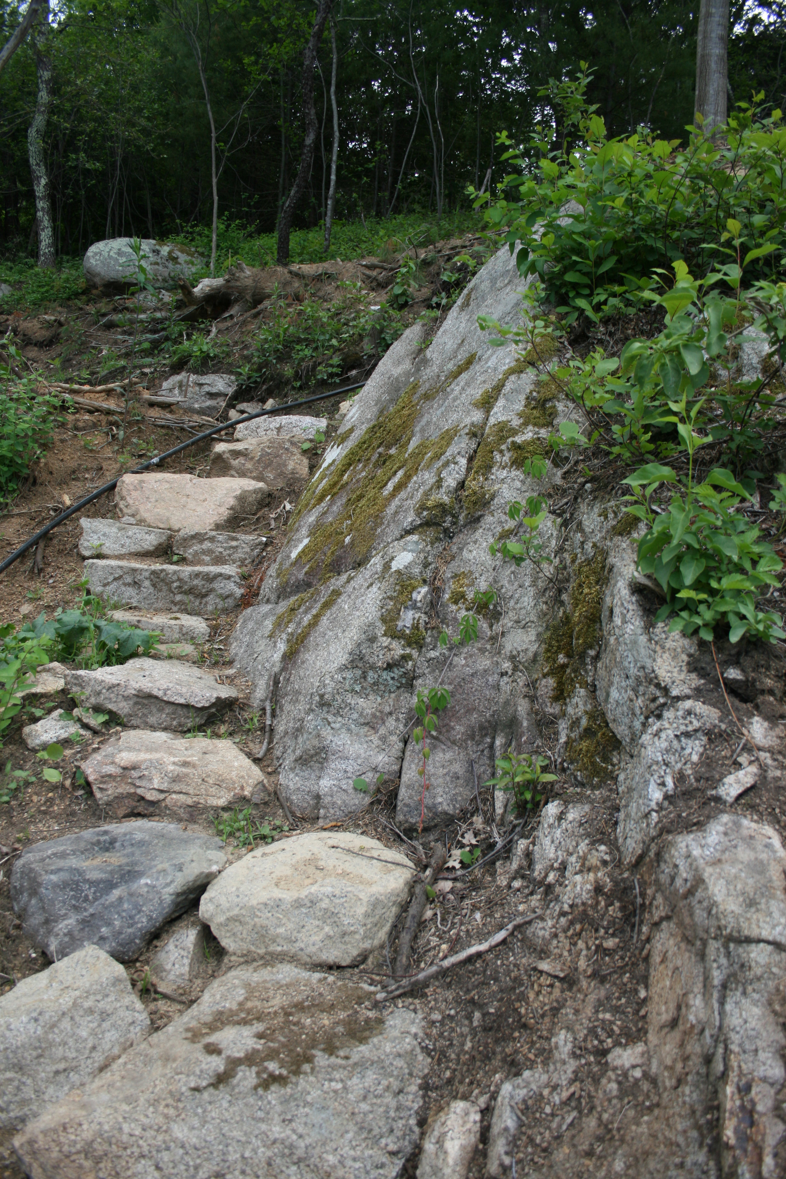 staircase wrapping around the stone out cropping up to the top terrace.