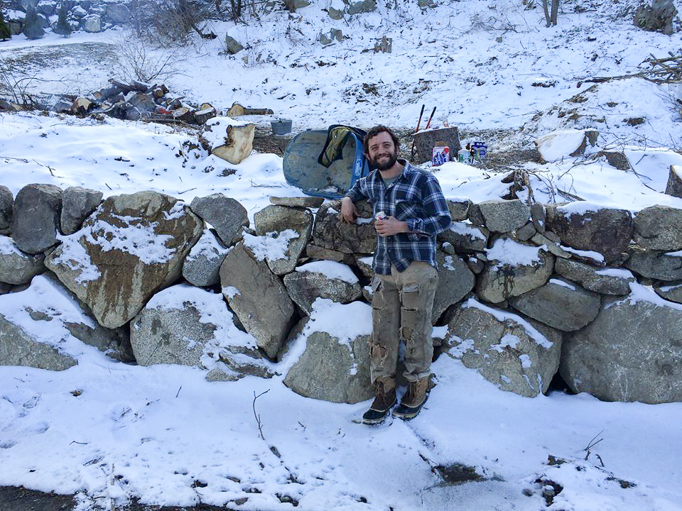 March 2016  Johnny's finished wall cover in snow as we gear up for the brush fire.