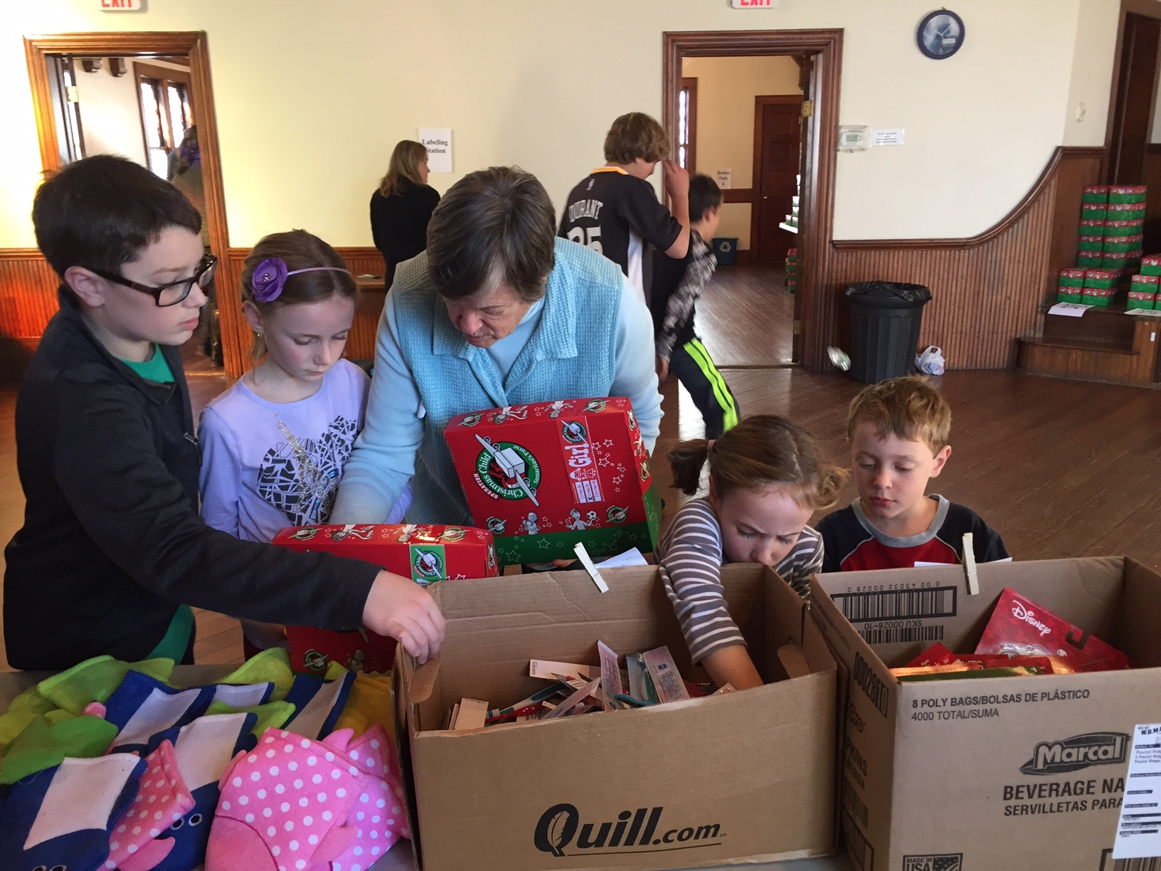 deciding what goes into the operation Christmas Child shoe boxes is a serious endeavor!