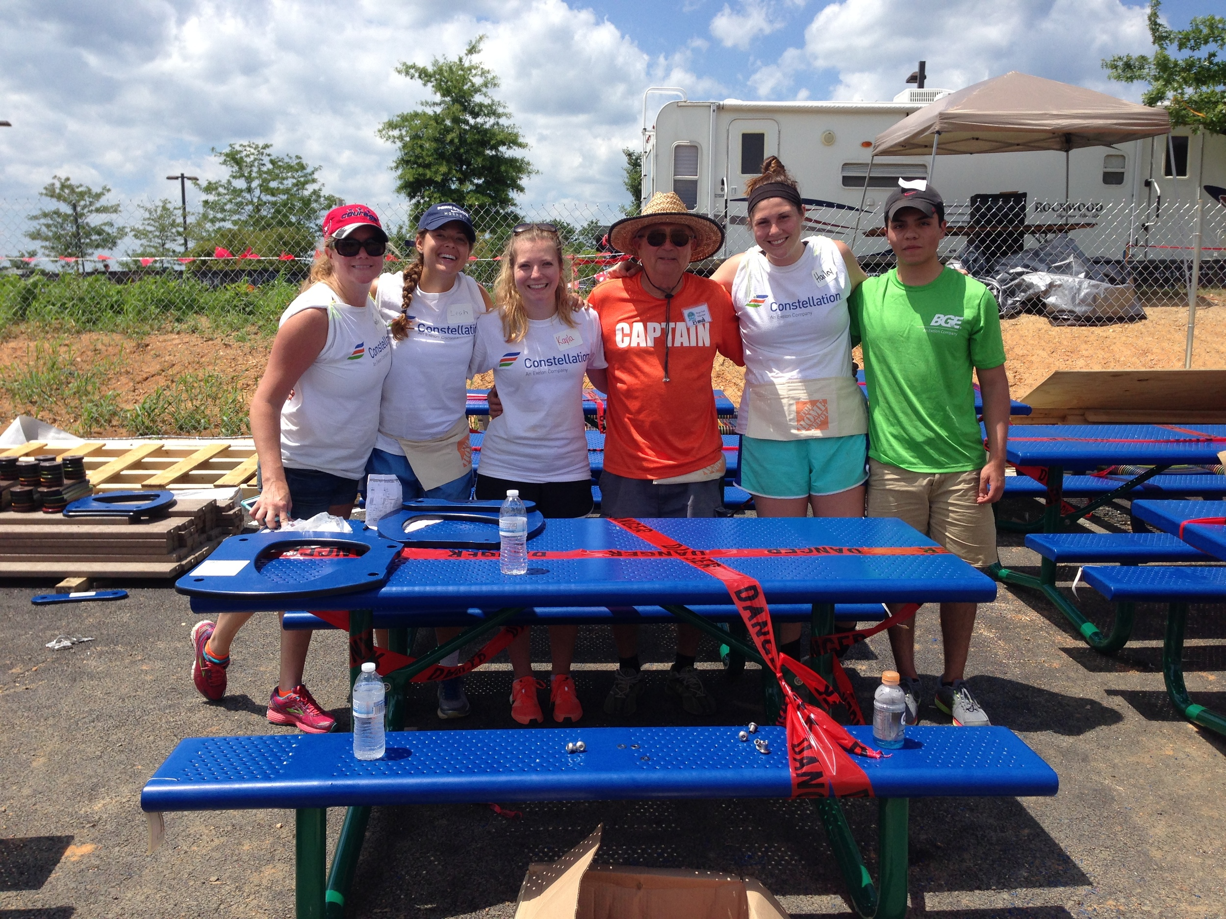 Bud Szczybor, in orange, with Angel Park volunteers during one of the community build days.