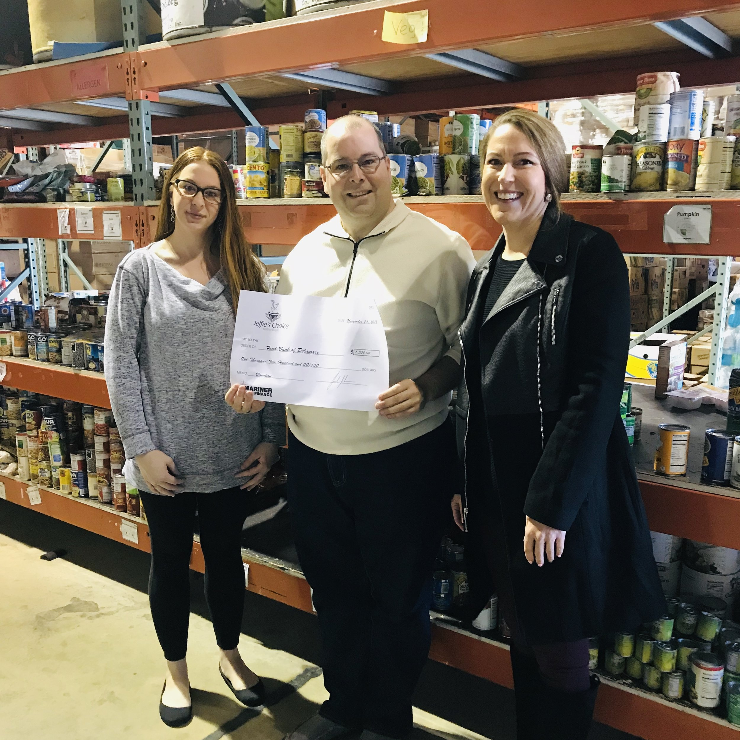 Pictured left to right: Kim Sauer, Milford, DE Branch Manager, Chad Robinson, Community Relations Manager, Milford Food Bank, Elizabeth Rohme, AVP of Audit, Mariner HQ